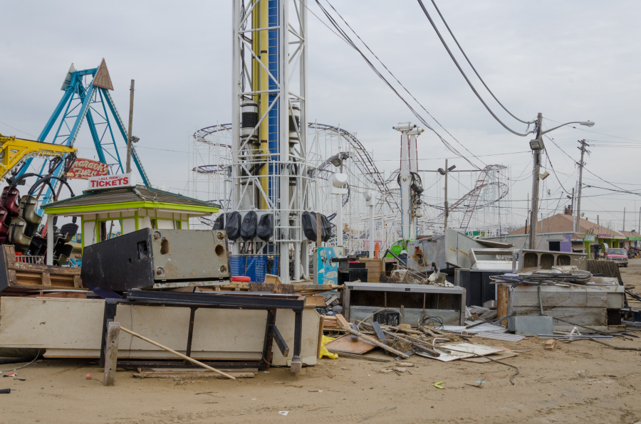 Keansburg Amusement Park damage from Hurricane Sandy