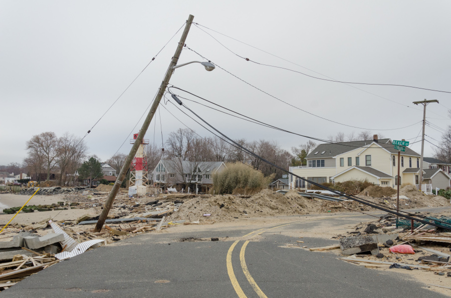 Leonardo, NJ 12/1/12 -- The damage from Hurricane Sandy was extensive here along the waterfront. Evidence can still be seen more than a month later.  Photo by Liz Roll/FEMA