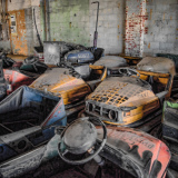 Keansburg, NJ, 1/29/13 -- Bumper cars at Keansburg Amusement Park awaiting restoration. The park was heavily damaged by Hurricane Sandy and hopes to reopen on March 24 for the 2013 season. Photo by Liz Roll/FEMA