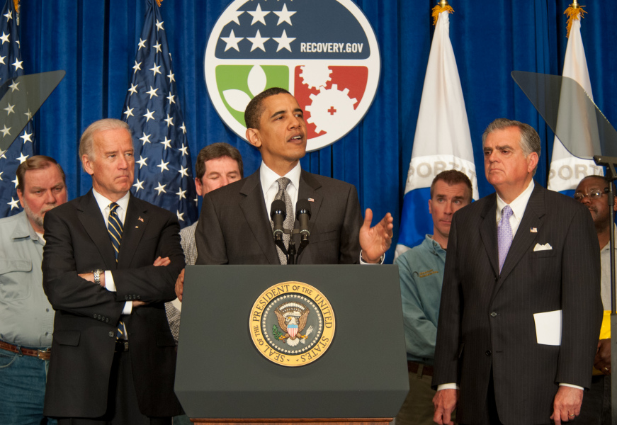 Washington DC 4/13/09 -- President Obama,  Vice President Biden, and Secretary of Transportation Ray LaHood give a press conference at the US Department of Transportation Headquarters regrding road construction.